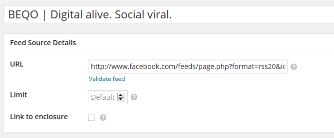 Facebook RSS in RSS Aggregator einbinden