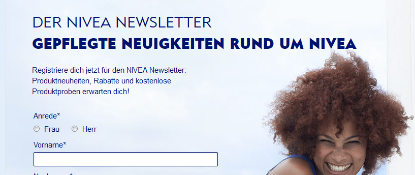 Landingpage der Nivea Facebook Werbeanzeige? Ob dies eine erfolgreiche Maßnahme war?